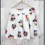 skirt294 กางเกงกระโปรง กระเป๋าข้าง ผ้าหนาเนื้อดีพิมพ์ลายดอกไม้ พื้นสีขาว