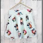 skirt293 กางเกงกระโปรง กระเป๋าข้าง ผ้าหนาเนื้อดีพิมพ์ลายดอกไม้ พื้นสีเขียวพาสเทล