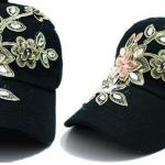 หมวกแก๊ป หมวกมีปีก หมวกยีนส์ หมวกผู้หญิง เท่ หมวกเบสบอล ผ้ายีนส์ แต่งคริสตัล ลายดอกไม้ หมวกใส่กันแดด สีดำ 344990_1