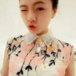 เสื้อ ซีทรู แขนกุด คอปก ปักลายดอกไม้ สวยหวาน มากค่ะ ผ้าชีฟอง no 56666