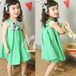 พร้อมส่ง - เสื้อผ้าเด็ก เดรส น่ารัก สีเขียว Size 120