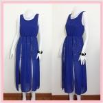 **สินค้าหมด dress2221 แม็กซี่เดรส/เดรสยาวแฟชั่น กระโปรงยาวผ่าคลุมกระโปรงสั้นแต่งเกล็ดปลาสีทอง ผ้าชีฟองสีน้ำเงิน