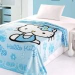 ผ้าห่มกำมะหยี่ เนื้อนุ่ม Hello Kitty สีฟ้า