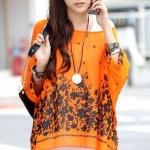 เสื้อคลุม ผ้าชีฟอง คอกว้าง เสื้อใส่เที่ยวทะเล ใส่เที่ยว สีแสบ แฟชั่น สุดเก๋ ลายขวาง สีส้มสด ลายดอกไม้ดำ no 85154_2