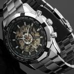 นาฬิกาข้อมือผู้ชาย แบบโชว์กลไก นาฬิกาเปลือย หน้าปัดเรืองแสงได้ ยามค่ำคืน วัสดุ Stanless steel สีเงิน 13276