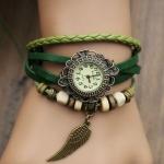 นาฬิกาข้อมือ ผู้หญิง สายหนังถัก สไตล์สร้อยข้อมือ วินเทจ งาน handmade ห้อยลูกปัด สีเขียว พร้อมจี้ รูปปีกนก สุดเท่ no 9798247_4
