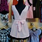 Sale!! blouse1596 เสื้อแฟชั่นตัวยาว ผ้านิ่มลายจุดวิ้ง คอวี โบว์เอว สีชมพู