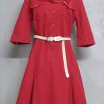เดรสวินเทจสีแดงพร้อมผ้าพันคอ