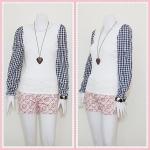 **สินค้าหมด blouse1701 เสื้อแฟชั่นผ้าคอตตอนสีพื้นตัดต่อแขนยาวลายสก็อต สีขาวครีม รอบอก 36 นิ้ว