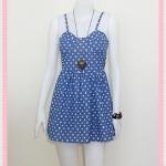 **สินค้าหมด dress2234 เดรสแฟชั่นสายเดี่ยวอกฟองน้ำซิปหลัง ผ้ายีนส์นิ่มลายหลุยส์ สียีนส์ฟ้าเข้ม