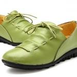 รองเท้าหุ้มส้น รองเท้าหนังแท้ แบบวัยรุ่นเท่ ๆ รองเท้าสีเขียว หนังมัน สวย ใส่สบาย รองเท้าผู้หญิง แบบเท่ ๆ ดีไซน์ เชือกถักโค้งตัว ยู 335533_2