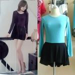 **สินค้าหมด Sale!! dress1883 เดรสแฟชั่นผ้าเนื้อดีแขนยาว ตัดต่อกระโปรงดำชายหลังยาว สีเขียวมิ้นท์