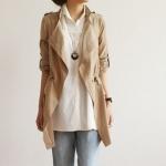 เสื้อคลุมผู้หญิง เสื้อกันหนาว ตัวยาว สไตล์ ยุโรป แขนยาว กำลังดี ใส่สบาย ดีไซน์เก๋ สีน้ำตาล กากี no 2732163