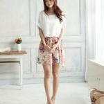 เดรส เสื้อ กระโปรง ผ้าซีฟอง เสื้อสีพื้น สีขาว กระโปรงลายดอกไม้ Flora แสนสวย กระโปรงบาน สั้นเหนือเข่า สไตล์สาวเกาหลี ใส่สบาย น่ารักมากค่ะ no 6319260