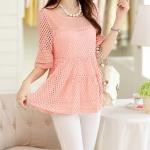 **สินค้าหมด Blouse3518-Size-L เสื้อแฟชั่นเกาหลีผ้าลูกไม้คอตตอนสีพื้นโอลด์โรส