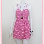 **สินค้าหมด dress2235 เดรสแฟชั่นสายเดี่ยวอกฟองน้ำซิปหลัง ผ้ายีนส์นิ่มลายหลุยส์ สีชมพู