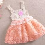 เดรส เด็กผู้หญิง ชุดกระโปรง ลายดอกกุหลาบ สีชมพูอมส้ม โอรส หวาน ๆ เดรสเสื้อแขนกุด ผ้าลูกไม้ ใส่หน้าร้อน เดรสเด็ก สไตล์ คุณหนู 273383_1