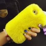 เคส Samsung galaxy note 3 n9000 เคสขนเฟอร์ ขนกระต่ายแท้ ขนนุ่มสุด ๆ สีเหลือง แตงโม เก๋ ๆ 10120_4
