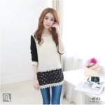 Best N Eve เสื้อ รุ่น Y-35A2 - Black & White Monochrome with Dot Chiffon