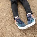 รองเท้าผ้าใบ ผู้หญิง รองเท้าหุ้มส้น แบบวัยรุ่น รองเท้าหุ้มข้อ สไตล์วินเทจ สุดคลาสสิค รองเท้าวินเทจ แบบสวย สีน้ำเงิน ดีไซน์เก๋ 552511_1