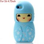 เคส iphone 6 ขนาด 4.7 นิ้ว เคสกิโมโน ตุ๊กตา จากประเทศญี่ปุ่น เคสซิโลโคน อย่างดี ตุ๊กตาใส่ชุดกิโมโน สีฟ้า 546970