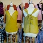 Sale!! blouse1573 เสื้อแฟชั่นผ้าชีฟอง คอวีป้าย ผูกโบว์หลัง สีเหลืองมะนาว รอบอก 36 นิ้ว