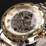 นาฬิกาข้อมือ โชว์กลไก Mechanical watch นาฬิกาข้อมือผู้ชาย สาย Stainless Steel หน้าปัดขาว ขอบทอง สวยหรู ของขวัญให้แฟน สุดหรู 268605_6