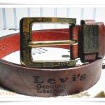 เข็มขัดหนังแท้ levis สีน้ำตาลไหม้ หัวสีทอง L021