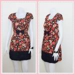 **สินค้าหมด Sale!! dress1988 เดรสแฟชั่นผ้าเนื้อดีลายดอกไม้ โบว์เอว สีส้ม