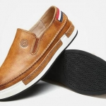 รองเท้าผ้าใบ ผู้ชาย รองเท้าหุ้มส้น แบบไม่มีเชือก รองเท้าสวม หนังแท้ สีน้ำตาล เทา ดำ มีส้นเล็กน้อย เรียบหรู มีดีไซน์ 585887