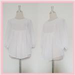 **สินค้าหมด blouse1750 ขายส่งเสื้อแฟชั่นไซส์ใหญ่งานแพลตตินั่มผ้าชีฟองเนื้อดี แขนค้างคาว สีขาว