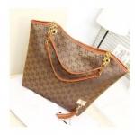 กระเป๋าถือผู้หญิง ใบใหญ่ ใส่นิตรสารได้ ปากกว้าง กระเป๋าถือใส่ของ กระจุก กระจิก ผ้าแคนวาส ผสม หนัง สีน้ำตาลเข้ม ทอง 200741_3