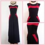**สินค้าหมด jumpsuit403 จัมพ์สูทขายาวแฟชั่นงานแพลตตินั่มผ้าเนื้อดี สีดำขลิบแดง