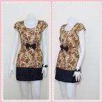 **สินค้าหมด Sale!! dress1990 เดรสแฟชั่นผ้าเนื้อดีลายดอกไม้ โบว์เอว สีเขียว