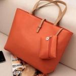 กระเป๋าถือสำหรับผู้หญิง ใบใหญ่ วัสดุ PU ทนทานกันน้ำได้ สีส้ม