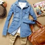 เสื้อยีนส์ เสื้อเชิ้ตผู้หญิง แขนยาว ใส่เป็น เสื้อคลุม หรือ เสื้อแจ็คเก็ต ได้ สียีนส์ฟ้า แบบ กระดุมหน้า เสื้อยีนส์ ใส่เที่ยว ใส่ทำงาน 465965