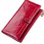 กระเป๋าสตางค์ผู้หญิง ใบยาว กระเป๋าสตางค์ หนังวัว แท้ ลง Oil wax ลายหนัง ยิ่งใช้ ยิ่งสวย ใส่บัตรได้เยอะ สีดำ น้ำเงิน น้ำตาล ชมพูกุหลาบ 796597