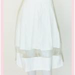 **สินค้าหมด skirt283 กระโปรงผ้าสกินนี่ เอวจับจีบซิปข้าง ชายแต่งผ้าใยแก้ว(ผ้าโปร่ง) สีขาว Size S เอว 24-28 นิ้ว