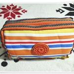 กระเป๋าใส่ดินสอ ใส่ของจุกจิก ลายทาง สีส้ม KP908
