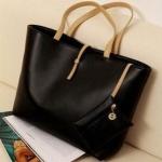 กระเป๋าถือสำหรับผู้หญิง ใบใหญ่ วัสดุ PU ทนทานกันน้ำได้ สีดำ