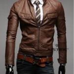 เสื้อ แจ็คเก็ตหนัง แบบ สลิม ฟิต Jacket ผู้ชาย แบบพอดีตัว มีกระเป๋าเสื้อ เสื้อคลุมแขนยาวผู้ชาย เสื้อคลุมหนัง คอปก เปิด ซิปหน้า สีน้ำตาล 99261