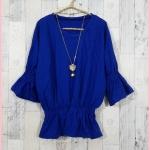 **สินค้าหมด Blouse2622 เสื้อแฟชั่นไซส์ใหญ่เอวยืด แขนสามส่วนระบาย ผ้ายืดเนื้อหนา สีน้ำเงิน