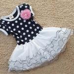 ชุดเดรสเด็ก ชุดกระโปรงเด็กผู้หญิง เสื้อลายจุด สีกรม กระโปรง พองทำระบายเป็นชั้น ๆ สีขาว no 616390