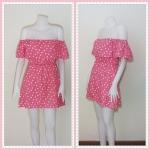 **สินค้าหมด dress2252 เดรสแฟชั่นเปิดไหล่ระบาย เอวยางยืด ผ้านิ่มลายหัวใจ สีชมพู