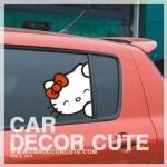 ( ลด 10 % ) HELLO KITTY - สติ๊กเกอร์ตกแต่งรถยนต์ คิตตี้แอบติดหน้าต่างรถยนต์