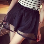 กางเกงขาสั้น กางเกงผู้หญิง ขาสั้น กางเกง กระโปรง ดีไซน์ ผ้าซีฟอง ทับ เป็น ระบาย กระโปรง 2 ชั้น สวยหรู สไตล์ คุณหนู สีดำ 400937