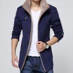 เสื้อ แจ็คเก็ต ผู้ชายแขนยาว Jacket แบบสูท เสื้อกันหนาว ไฮโซ ซับใน ด้านใน เป็นขนสัตว์ นุ่ม ใส่สบาย ดีไซน์ เป็น เสื้อสูท สีน้ำเงิน 79420_1