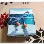 กล่องใส่เนคไท ผ้าไหมแท้ สีฟ้า