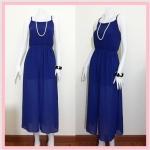 **สินค้าหมด dress2208 แม็กซี่เดรส/เดรสยาวแฟชั่น กระโปรงยาวผ่าหน้าคลุมกระโปรงสั้น ผ้าชีฟองเนื้อทรายสีน้ำเงิน