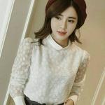 SALE!! Blouse3601-Size-XXL เสื้อชีฟองคอตั้งแขนยาว งานดีมีซับใน ผ้าชีฟองลายดอกไม้เล็กๆ เนื้อดีสีพื้นขาว
